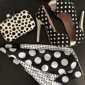 Black and white polkadot heels, clutch, scarf